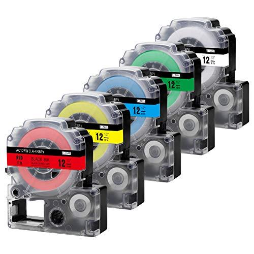 Invoker compatible con reemplazo de cinta de etiquetas para Epson LC-4WBN9 LC-4LBP9 LC-4RBP9 LC-4YBW9 LC-4GBP9, para Epson LabelWorks LW-300 LW-400 Impresora de etiquetas, 12 mm x 8 m, paquete de 5