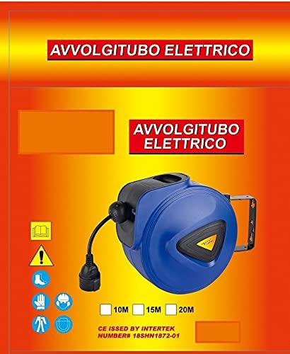 REPLOOD Enrollacables eléctrico con cable alargador Shucko - Enrollador de manguera retráctil - Fijación a pared (15 metros)
