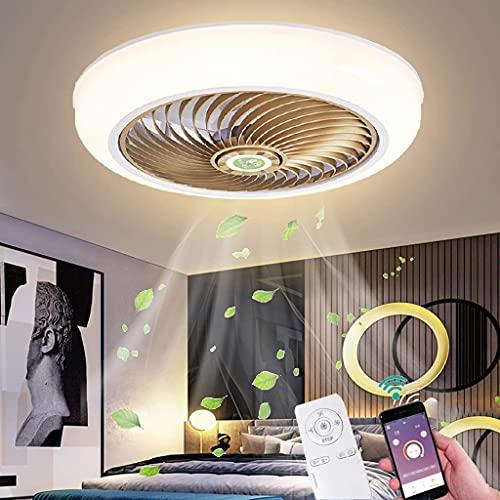 Invisible Lámpara de Ventilador con Luz LED Dormitorio Silencioso 36W Ventilador de Techo Moderna Control Remoto APP Ventilador de Plafon Cronometrado Dorado Salón Luz de Ventilador, 3 Velocidades
