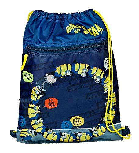 Undercover MNIO7240 - Sportbeutel Minions mit Reißverschlussfach, doppeltem Kordelzugband und separater Reißverschlusstasche, praktisch, trendy, cool, für Freizeit, Sport und Training