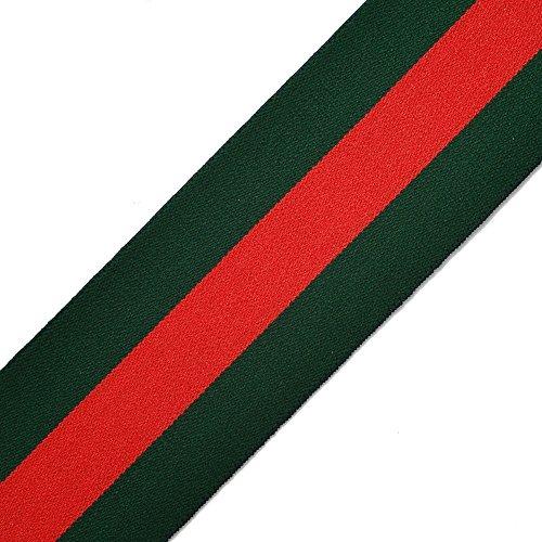 "Ribbon 1"" (25mm) Elastic Stretch Trim 1 Yard for Stretch Elastic Band, Headband, Hand Band and Waist Belt (Green/Red Stripe)"