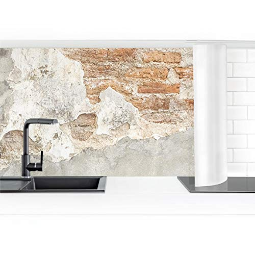 Bilderwelten Küchenrückwand Folie selbstklebend Shabby Backstein Wand 60 x 400 cm Premium