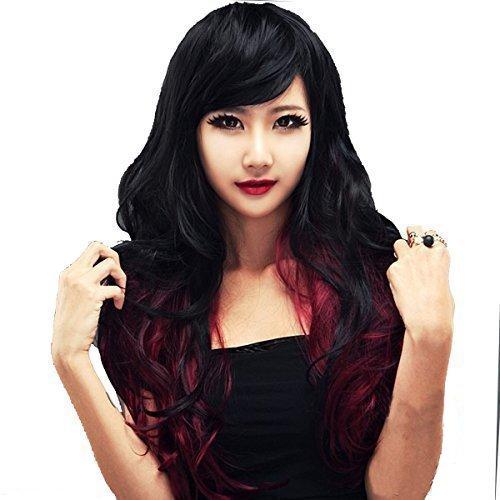 Dayiss Perruque Femme Cheveux longs ondulés Costume Carnaval Imitation parfaite Cheveux synthétiques noirs et rouges