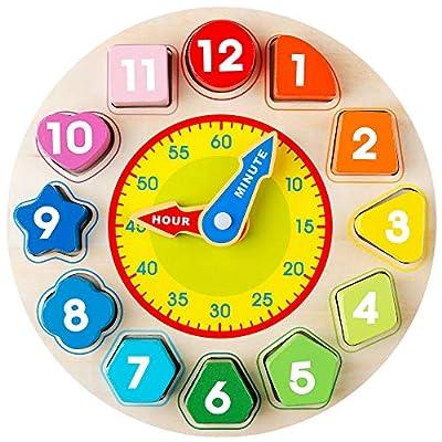 Coogam Reloj de clasificación de Formas de Madera - Tiempo de enseñanza Bloques de números Clasificador de apilamiento Rompecabezas Montessori Aprendizaje temprano Regalo Educativo del Juguete de Coogam