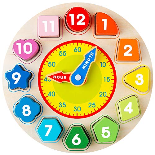 Coogam Wooden Shape Color Sorting Clock – Teaching Time Number Blocks Puzzle Stacking Sorter Jigsaw Montessori Early Learning Educational Toy Gift for 1 2 3 Year Old Toddler Baby Kids