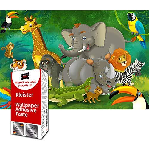 GREAT ART Fototapete Comic Dschungel Tiere 210 x 140 cm – Kindertapete Kinderzimmer Safari Abenteuer Natur Zoo Tiger Löwe Elefant Affe – 5 Teile Tapete inklusive Kleister