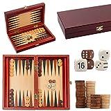 Master of Chess TRYKTRAK Classic Backgammon 33 x 28 cm Juego de Madera de Viaje en Elegante Juego de Mesa de Cassette de Caoba para Adultos y para KDS