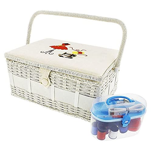 Sewing Basket Organizer with Needles and Kit (13 x 9.5 x 6 In, 30 Pieces)
