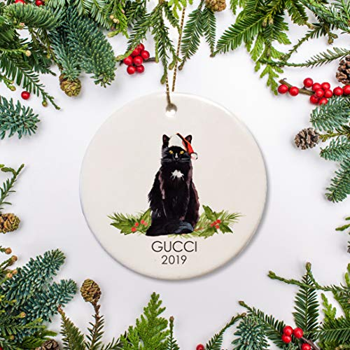 DKISEE Black Bombay Long Hair Cat Christmas Ceramics Ornament, Personalized Cat Ceramics Ornament, for Cat Lover 3.1 inch