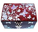MADDesign RA-056 Jewelry Box Ring Organizer Mother of Pearl Inlay Mirror Lid Butterfly Red