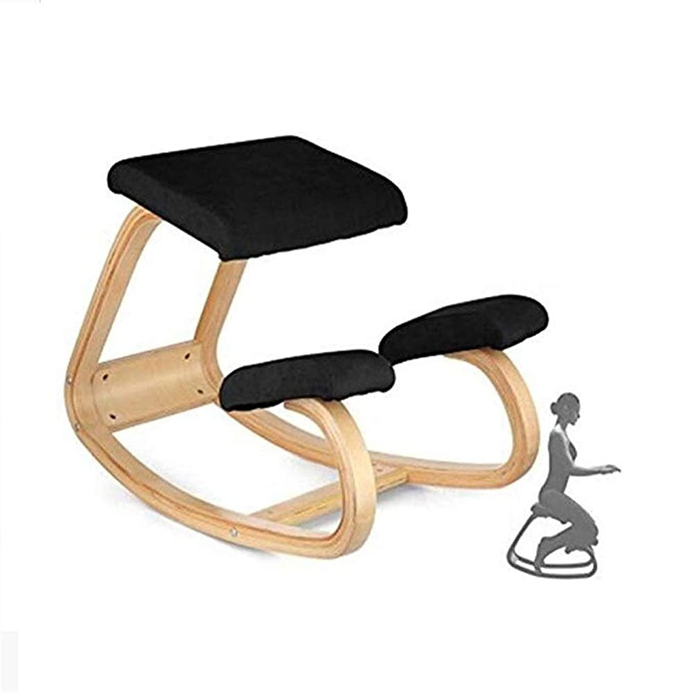 望まない装置エンジニア膝チェア 人間工学に基づいた整形外科用ひざまずく椅子大人子供健康ホームオフィスチェアナチュラルラッカー仕上げ木材の使用 姿勢矯正 椅子 (色 : ブラック, サイズ : 72*45*53cm)