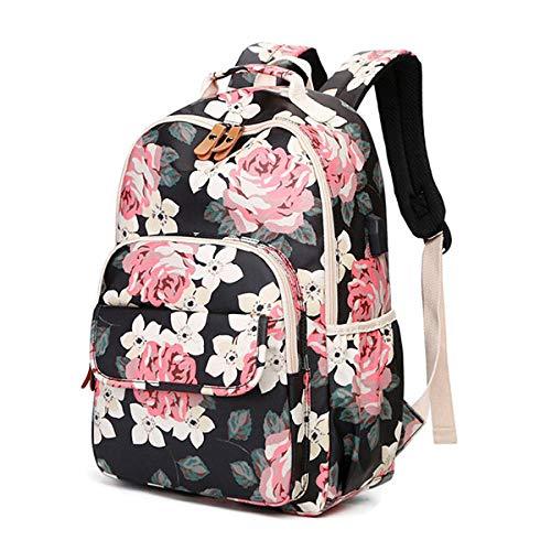 Marca Unique USB Flower Printing Backpack Mujeres Mochilas Impermeables Mochila para portátil de Lona Mochila para niñas Casual @ Negro