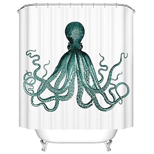 BBFhome 180 x 180 cm Bad Duschvorhang Benutzerdefinierte wasserdicht Stoff Badezimmer Duschvorhang Atrovirens Octopus