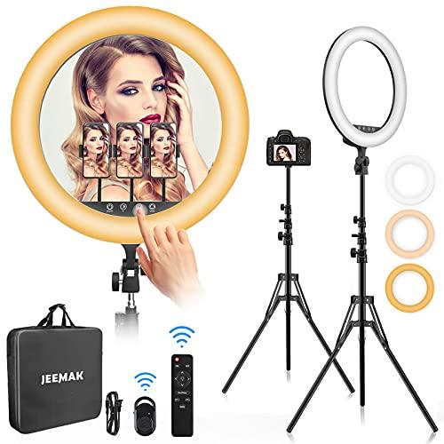 Ringlicht 18 Zoll Set, Jeemak 48cm draußen LED Ringlicht, 55W 6500K Dimmbares, für TikTok, Live Stream, Make-up, Ringlicht mit Stativ, Bluetooth-Empfänger für Self-Porträt, Fotografie, Videoaufnahme