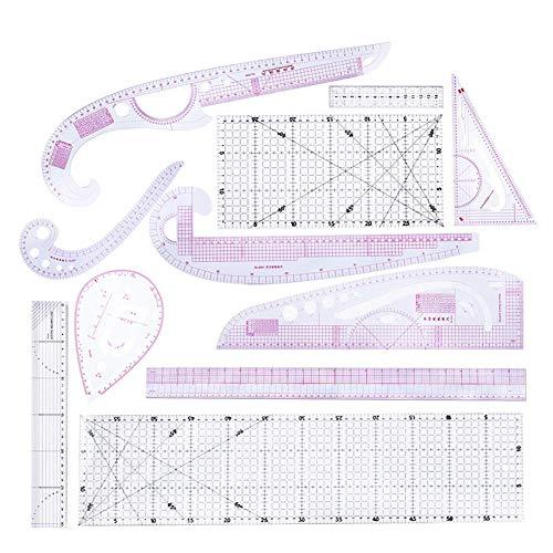 Euopat Naairuler, Naairuler Tailor Set, Frans Metrisch Liniaal Plastic Curve Gevormde Grading Rulers, voor het naaien Dressmaking Patroon Ontwerp Tekening Sjabloon, Multi-Purpose Snijliniaal