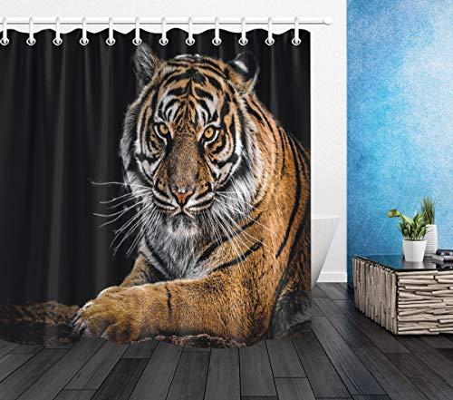 LB Tiger Duschvorhang Wildes Tier Gemustert Polyester Stoff Extra lang Badevorhänge Wasserdicht antischimmel Badezimmer Dekor Heimzubehör mit Vorhanghaken,180X180cm