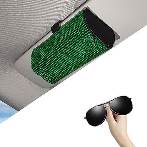 MINGZAIQIPEI Funda universal para gafas de sol con visera de coche, caja organizadora de gafas de coche, diamante [duradero] para guardar gafas, el mejor regalo para hombres y mujeres (verde)