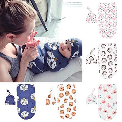 Yuehuam Couverture D'enveloppe en Tricot de Bébé Emmailloté avec Chapeau Sac de Couchage pour Nouveau-Né pour Bébé Couverture de Couchage Extensible pour Tout-Petits pour Filles Garçons