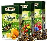Juego de tres tés de hojas verdes con la adición de manzana, naranja y piña. Herbapol, 3x100g La infusión favorece el rendimiento mental, la digestión y el adelgazamiento.