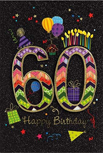 BSB Carte d'anniversaire 60 ans - Happy Birthday 528860-2 - Noir/multicolore