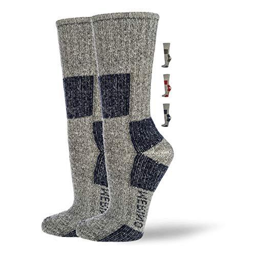NewwerX Wandersocken mit 85% Merinowolle   Trekking Socken Damen und Herren   Trekkingsocken Atmungsaktiv und Komfortabel (Marine, 39-42)