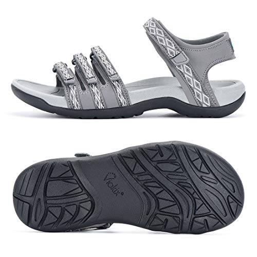 Viakix Womens Hiking Sandals – Comfortable Stylish Athletic Sport Shoes for Walking Outdoors Water Trekking