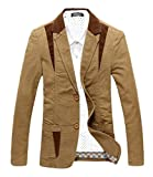 CHARTOU Men's Casual Western-Style Lightweight Slim Two-Buttons Cotton Suit Blazers Jacket (Large, Khaki)