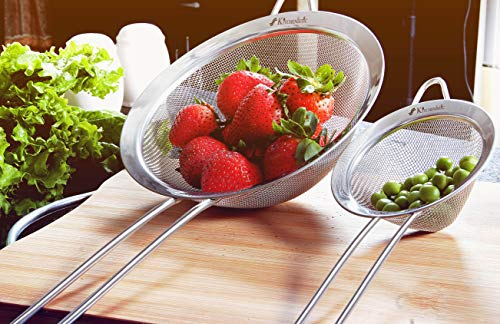 KITCHENISTIC Fine Mesh Stainless Steel Strainer Set of 2 - Large Round Strainer and Small Conical Sieve - Ideal to… |