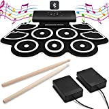 VEEtop 9 Pads Electronic Drum Set,Bluetooth Upgraded Version, Thickened Hand Roll Up Electric Drum Practice...
