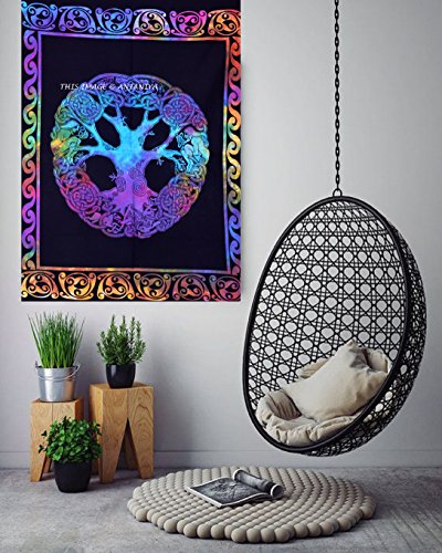 ANJANIYA Celtic Tree Sign Tie & Dye Small Tapestry Poster Size 40'x30' Designer Wall Hanging Cotton Sheet Printed (Multi Tie Dye)
