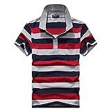 (エフバイフォー) F×4 メンズ ポロシャツ 半袖 Tシャツ ボーダー 柄 ゴルフ ポロ poloシャツ ゴルフシャツ スポーツ カジュアル 縞 トップス 大きい サイズ FMT034 レッド XL
