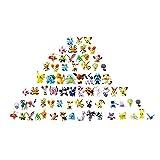 OMZGXGOD Pokemon Figuras ,Mini Figuras de plástico tamaño pequeño Regalo,La Figura de Pokémon Incluye a Pikachu, Charmander, Squirtle, niños(72Piezas) (72)
