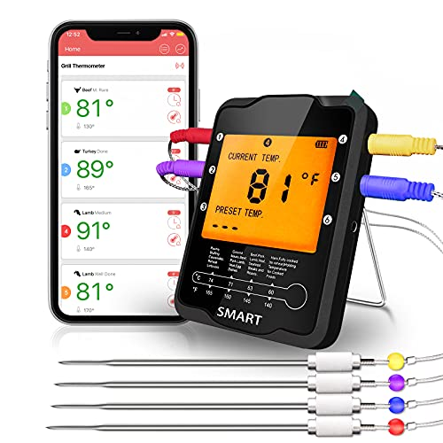 Meat Thermometer for Grilling Rilitor Smart Wireless Remote Meat Thermometer with 4 Probes Digital Cooking Food BBQ Thermometer for Smoker Kitchen Oven Grill Support iOS & Android