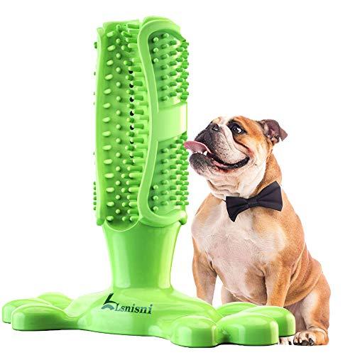 Lsnisni Spazzolini per Cani, 360° Massaggiatore per la Pulizia dei Denti dei Cani, Giocattolo da Masticare per Animali Domestici, Gomma Non tossica Naturale, FDA (Verde)