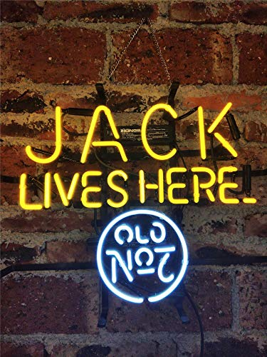 Neon Light Sign Jack Lives Here Neon Signs Real Glass Neon Sign Bar Signs Neon Lights for Bedroom Beer Bar Home Hanging Custom Neon Sign for Wall Decor Halloween Christmas Signs 17x14 Inch