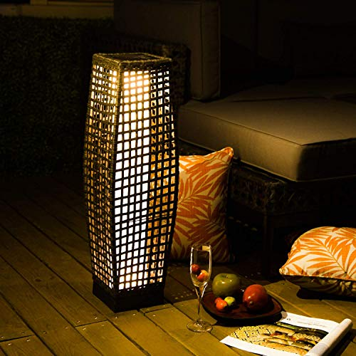 Grand Patio Outdoor Floor Lamp LargeSized Solar Powered Rattan Light Weather–Resistant Rattan Floor Lamp for Patio Deck and Garden