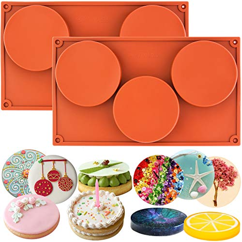 Funshowcase 3-Cavity Large Round Disc Candy Silicone Molds 2-Bundle