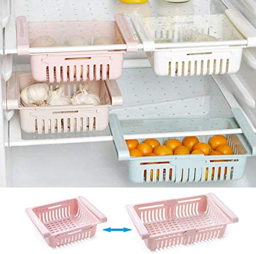 Cajón de frigorífico retráctil, 4 piezas, organizador de almacenamiento, estante de almacenamiento para frigorífico de perfil bajo para huevos, verduras y frutas, azul + blanco + rosa + albaricoque