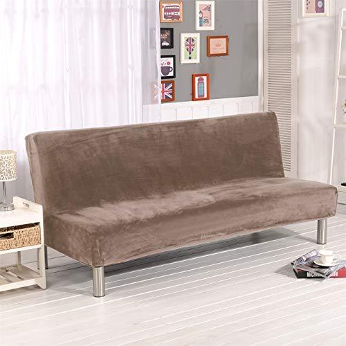 Sofa-Schonbezug aus Samt und Plüsch, 3-Sitzer, für den Winter, dicker Stretchstoff, Sofabettbezug, einfarbig, rutschfest, elastisch, passt auf Klappsofa ohne Armlehnen Hellkamel