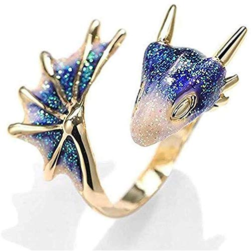 Gold Topaz Dragon Ring, Lucky Finger Pet Knight Dragon Triceratops Open Ring Ring Dragon Ring Devil Tail Arrows Adjustable Rings (Blue)