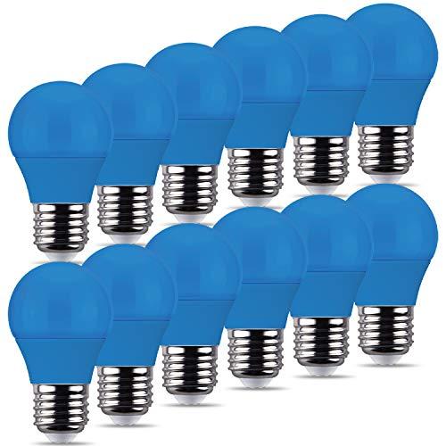 REPSN® Coloured Decoractive Light Bulbs,LED Mini Golfball Bulbs,Energy Saving, for Outdoor Indoor Home Decor,Halloween,Christmas,Tree,Fairy Party Night Lights… (Blau, E27 ES Cap)