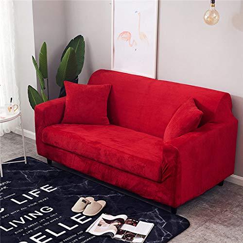 QCTDM Funda de sofá,Funda de sofá elástica de Felpa de Color sólido, Cubierta Deslizante seccional Universal 1/2/3/4 plazas Funda de sofá elástica para Sala de Estar, Rojo, 3, Asiento 190,230cm