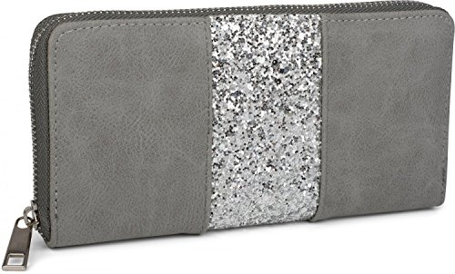 styleBREAKER Geldbörse mit umlaufendem Pailletten Streifen, Reißverschluss, Portemonnaie, Damen 02040056, Farbe:Grau