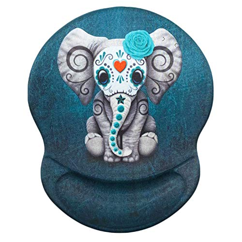 Ergonomic Mouse Pad with Wrist Rest Support, Knocyesnt Wrist Mouse Pads, Non-Slip Rubber Base Mousepad and Pain Relief Mouse Mat for Gaming & Work (Pretty Elephant)