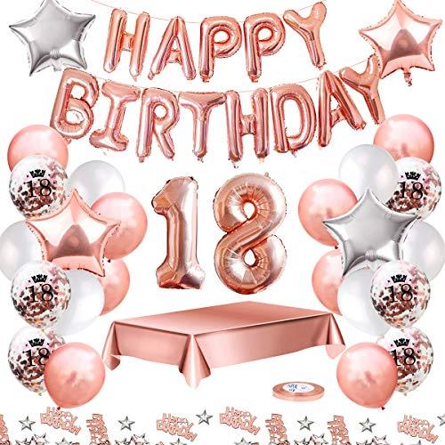 MMTX 18 Geburtstag Dekoration, Geburtstag Party Luftballon Deko mit Happy Birthday Luftballon,Druck Latex Luftballons Sterne Herz Folienballons für Schwarz Silber Junge Männer Mädchen Frauen