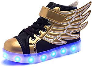 SANTIMON Kids Boys Girls USB Charger 7 Colors LED Lights Luminous Sports Shoes Sneaker Athletic Wings Trainers High-top Shoes Gold-Black 3.5 B(M) US