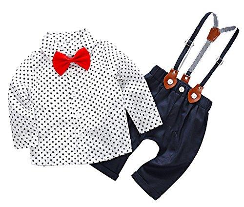 Feoya Bebé Niño Camisa Manga Larga y Pantalones de Tirantes Ajustables Traje de Boda Fiesta Bautizo 9-12 Meses - Blanco