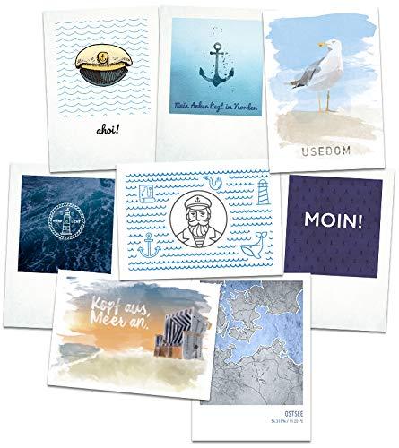 Stadtliebe® | Usedom Postkarten Set - 8 Maritime Postkarten Motive Format A6 (Grußkarte)