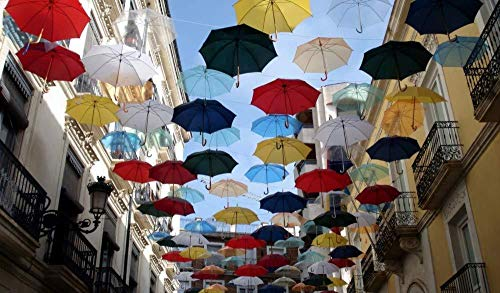 Kxch Malen nach Zahlen für Erwachsene Stadt der Regenschirme Leinwand Malvorlagen Moderne DIY-Kits Kunstraum Einzigartiges Dekor Geschenk Rahmenlos 40X50Cm