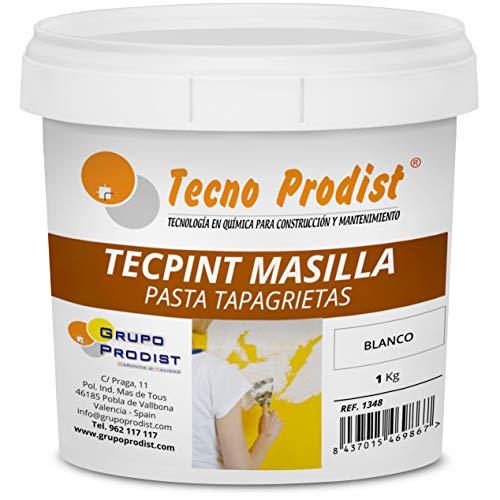 TECPINT MASILLA pared de Tecno Prodist - 1 Kg (BLANCA) Pasta Tapagrietas para reparar o tapar fisuras en cualquier material de construcción - Lista para usar - Calidad Profesional